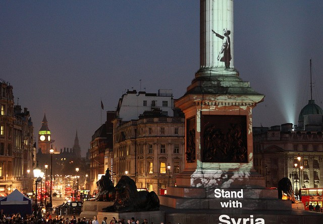 Banksy - Stand With Syria in Trafalgar Square