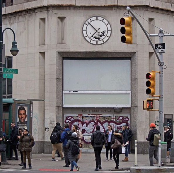 Location of Banksy clock rat in New York