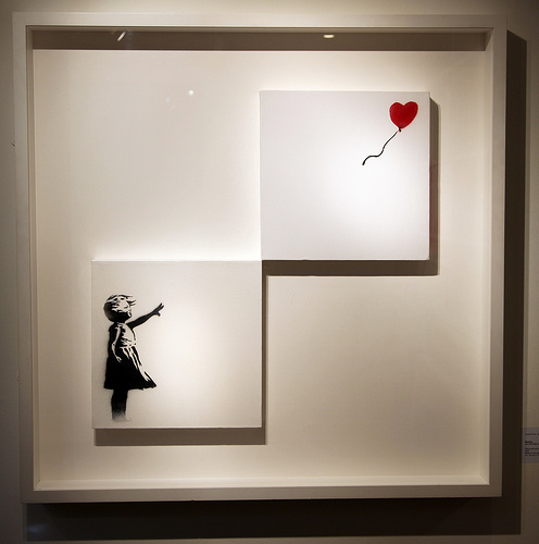 Banksy - Girl With A Balloon double canvas