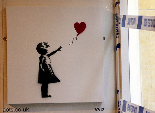 Girl and heart balloon stencil