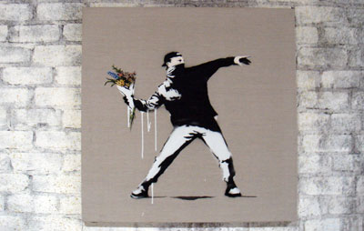 Banksy Barely Legal LA Love Is In The Air canvas