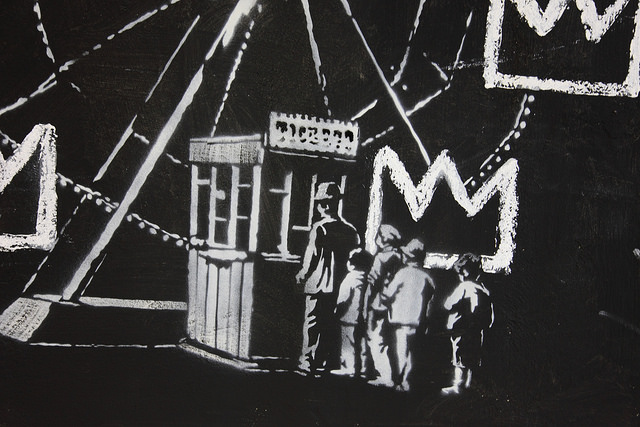 Banksy Ferris Wheel detail of new work in the Barbican