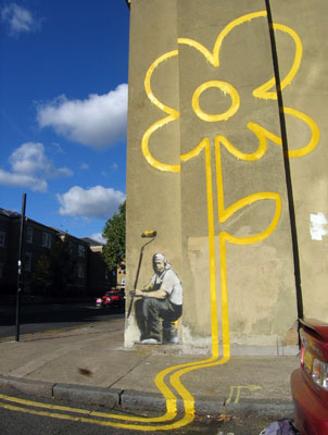 Banksy Bethnal Green Yellow Lines Flower Painter