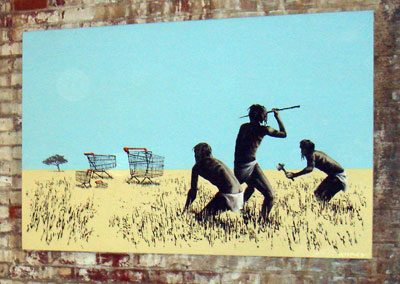 Banksy Hunters canvas