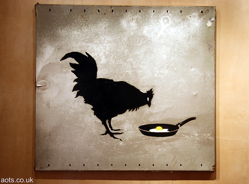 Banksy Chicken and Egg painting