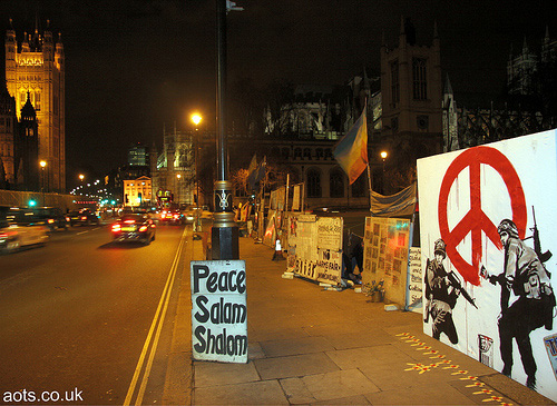 Banksy CND soldiers canvas, Brian haw Protest