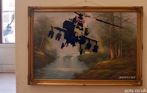 Banksy Helicopter - Oil painting from Portobello Market