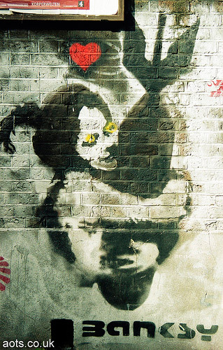 Banksy Bomb Hugger Love bomb picture from Brick lane
