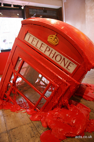 Banksy at Lazinc - Melting phone box