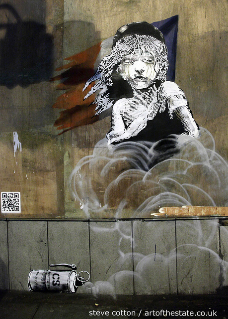 Banksy tear gas child