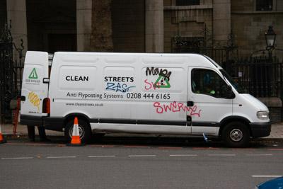 Graffiti cleaning van with graffiti
