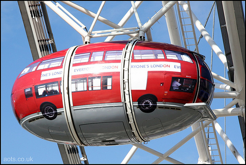 Photo of a London Eye Pod customised as a London Bus (2005)