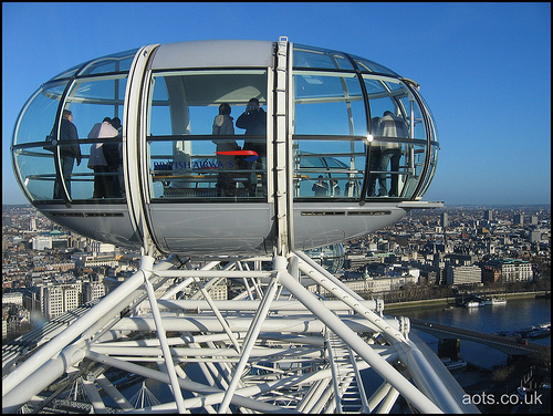 London Eye pod at the top of its journey