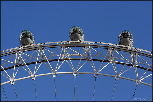 Photo of London eye pods against a blue sky