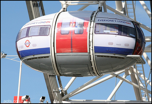 Photo of a London Eye pod customised as a Tube Train in 2005