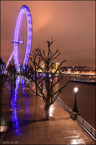 London Eye Rain reflection