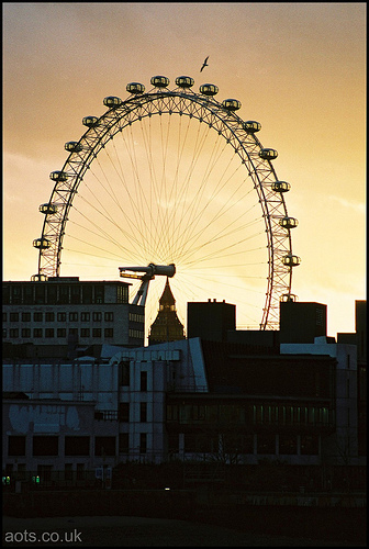photo of the London Eye at sunset