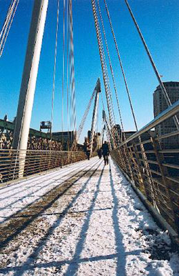 London Hungerford Bridge with snow