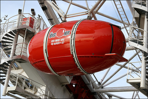 Photo of a custom Red Nose Day London Eye Pod in 2007