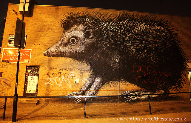 Roa Hedgehog in Shoreditch