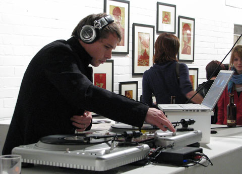 Shepard Fairey on the decks at the preview party for Nineteeneightyfouria