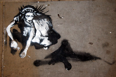 Pavement stencil figure