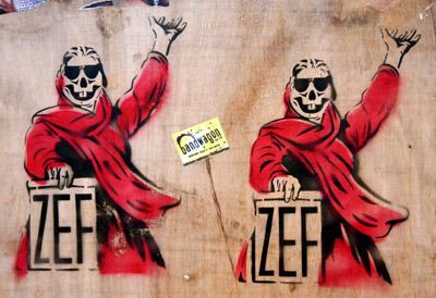 Zef stencil graffiti