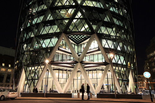 Swiss Re Tower at night