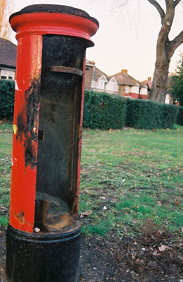 Firework damaged post box