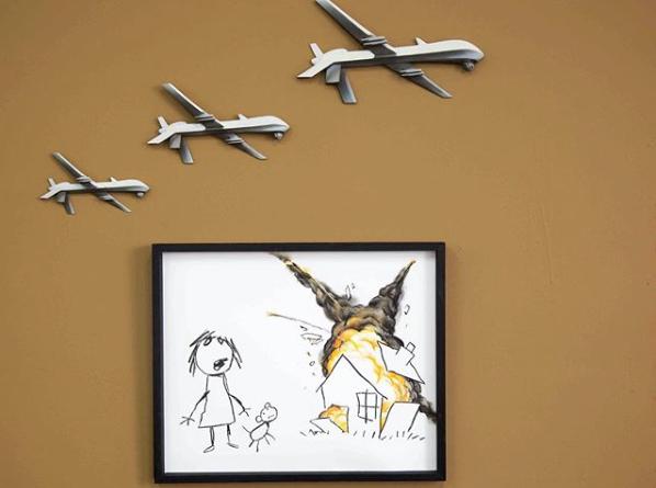 Banksy canvas for Art The Arms Fair