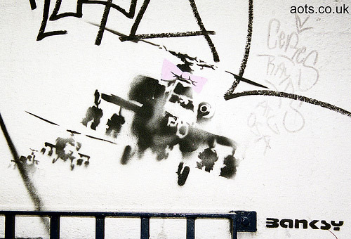 Banksy Pink Ribbon helicopter gunships