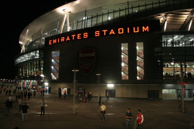 Arsenal Emirates Stadium at night