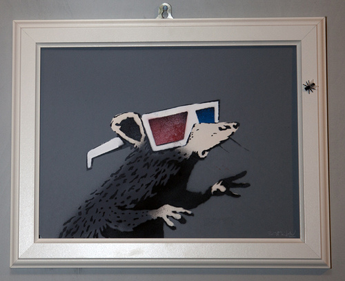 Banksy rat with 3d glasses
