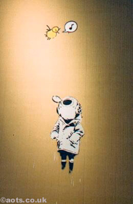 Banksy - Space Girl and Bird on cardboard