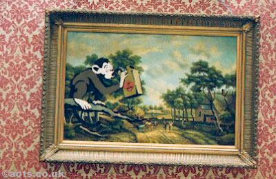 Banksy camp modified oil painting