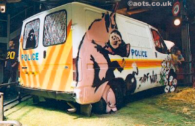 Painted Police van at Turf War