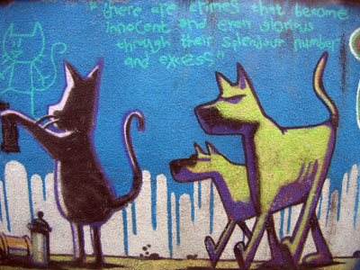 Banksy Cat and Dog
