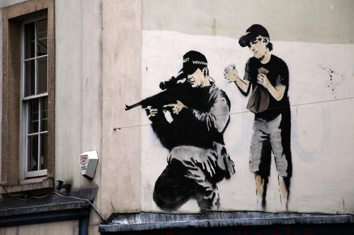 Banksy police sniper and boy,  Bristol