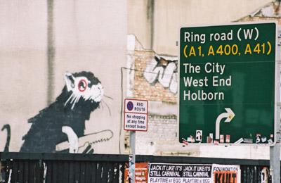 Banksy rat in a car park