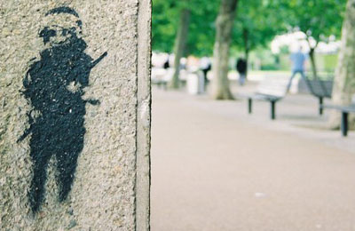 Banksy riot cop on the Southbank photo