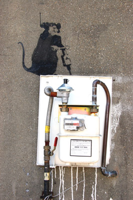 Banksy gas meter box rat