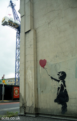 Banksy Balloon Girl and Crane