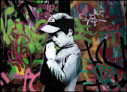 Banksy stained glass prayer boy HMV