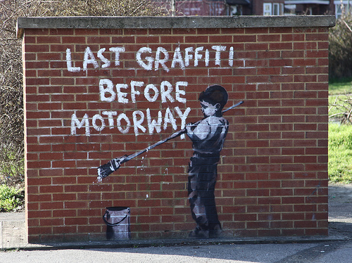 Banksy _ Last graffiti before motorway