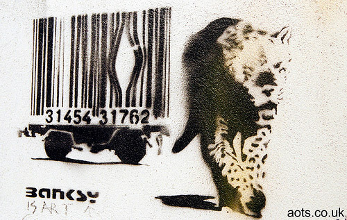 Banksy 'Barcode' Leopard graffiti