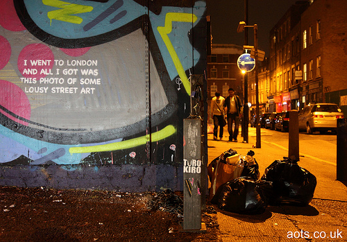 "Banksy ""I went to London and all I got was this photo of some lousy street art"""