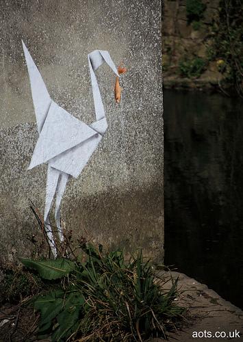 Banksy Origami Bird, Lyme Regis