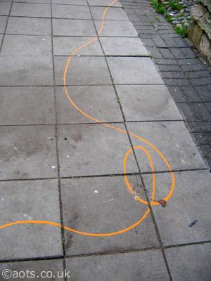 Banksy orange wool line
