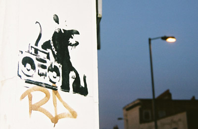 Banksy rat with ghetto blaster