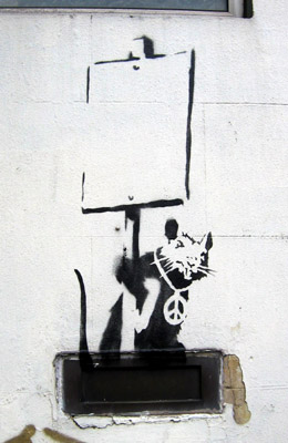 Banksy placard rat